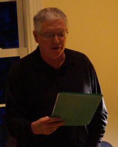 Richard Rastall as emcee (MPC Reading at Joy Center, 2015)